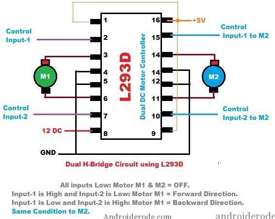 DC Motor Dual H-Bridge IC-L293D