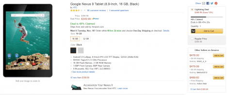 promocion de un Nexus 9 en Amazon 01