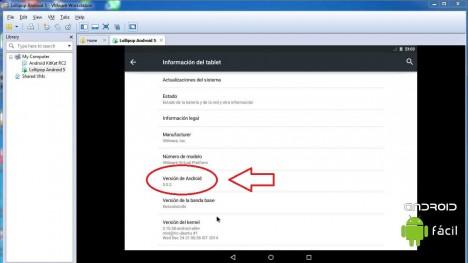 Android 5 en los Ajustes
