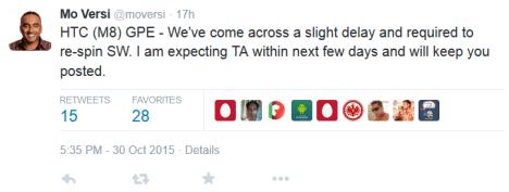 Tweet sobre el retraso para Android 6.0