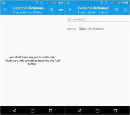 Agregar palabras al Diccionario Android
