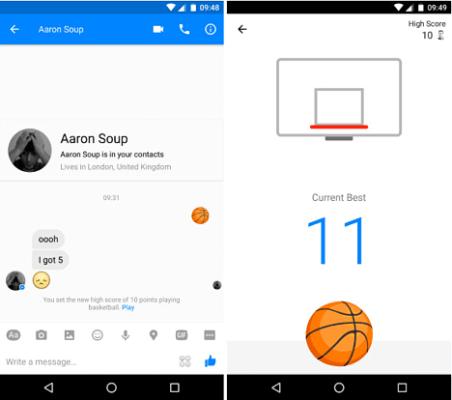 Baloncesto en Facebook Messenger Android