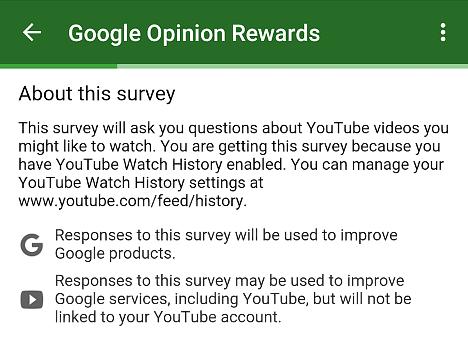 encuesta con Google Opinion Rewards