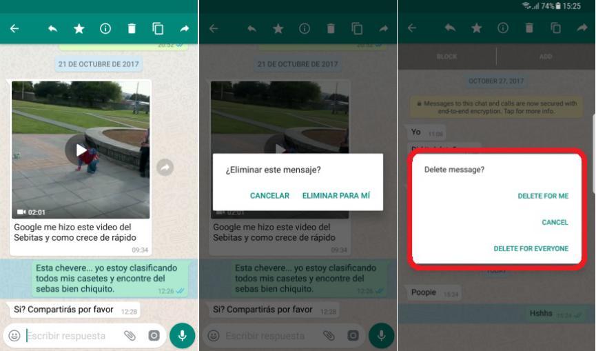 WhatsApp Messenger eliminar mensaje ofensivo