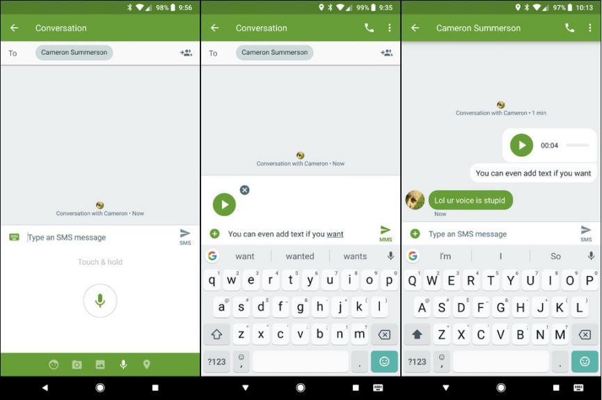 Enviar grabaciones de voz con Mensajes Android