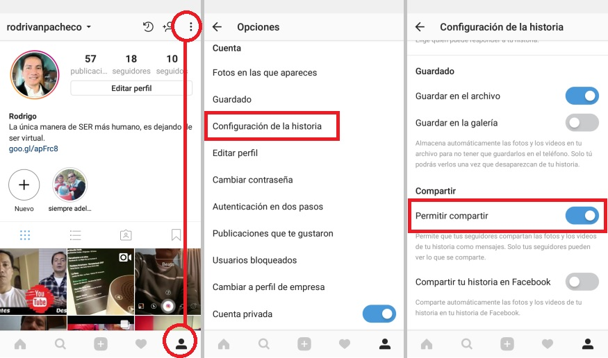 Instagram Android bloquear Historias con fotos