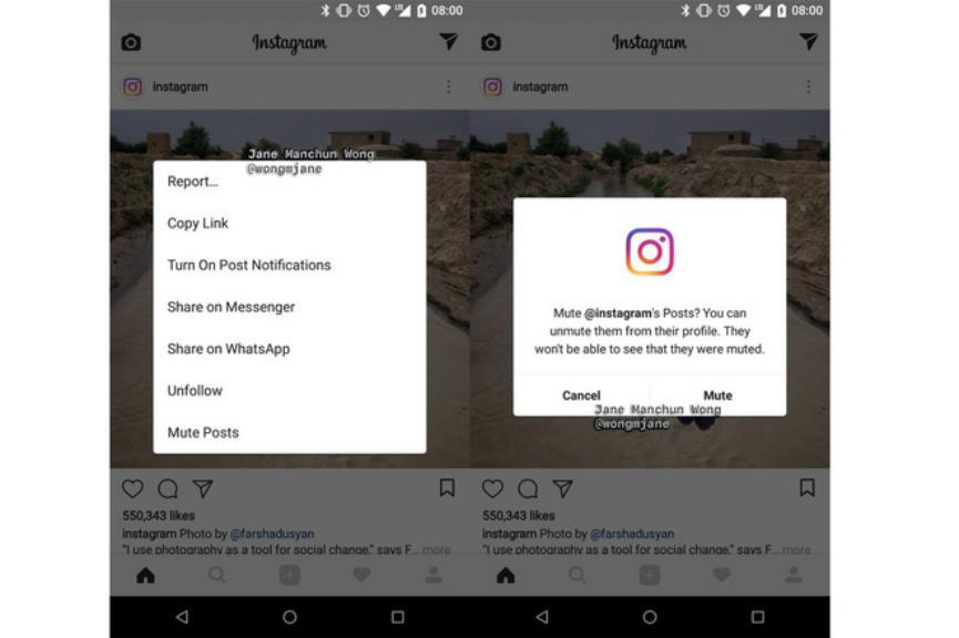 Instagram Android silenciar publicaciones