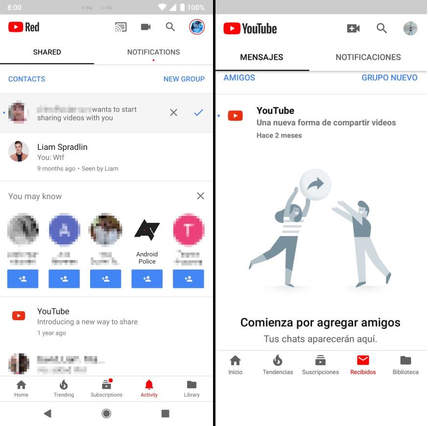 YouTube Android con nuevas pestañas