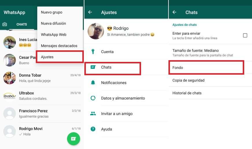 cambiar fondo del Chat en WhatsApp Android