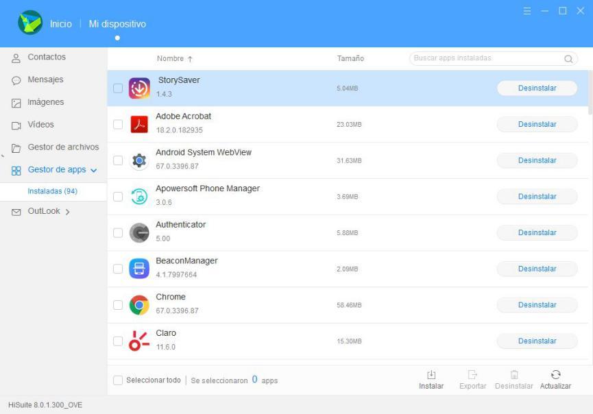 desinstalar aplicaciones android bloatware con HiSuite