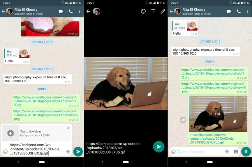 Gifs animados en WhatsApp Android