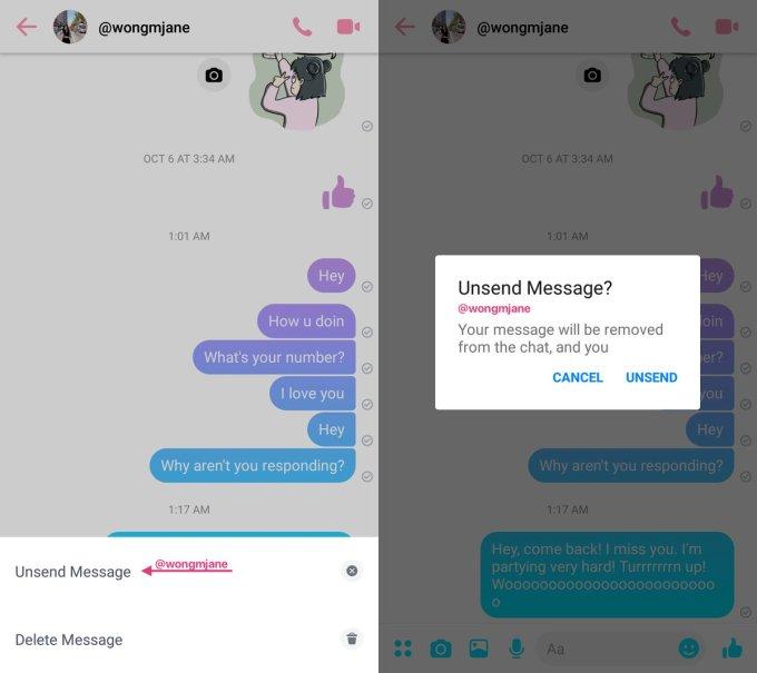 eliminar mensajes enviados en facebook messenger accidentalmente en Android