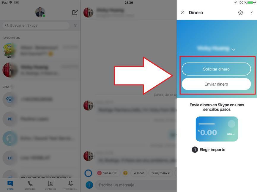 enviar dinero con Skype Android