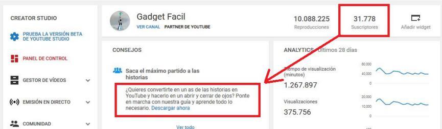Historias en YouTube Android