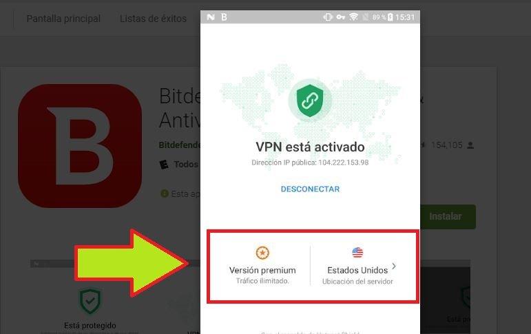 Instalar Bitdefender para Android con VPN