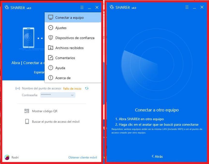 shareit para compartir archivos entre android y pc