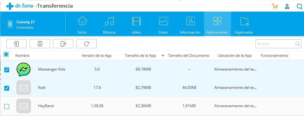 transferencia de datos con DrFone