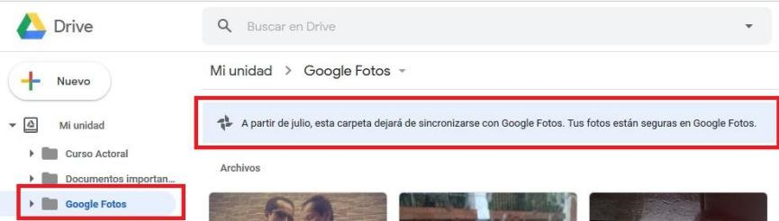 Google Photos y Drive