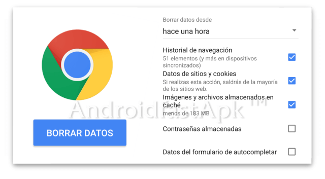 Google chrome borrar datos