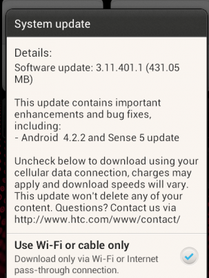 HTC One SV getting Android 4.2.2 and Sense 5 Update