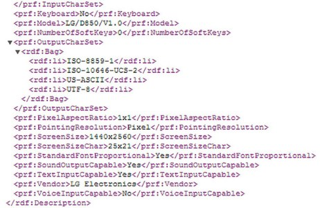 User Agent Profile Details Regarding the Upcoming LG D850