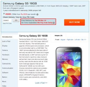 Samsung S5 Listed Online in India at Rs. 45,500 ($730/€530)