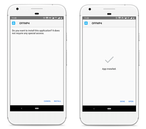 install offmp4 apk on android device