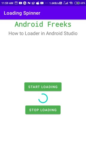 How to use Loading Spinner in Android Studio
