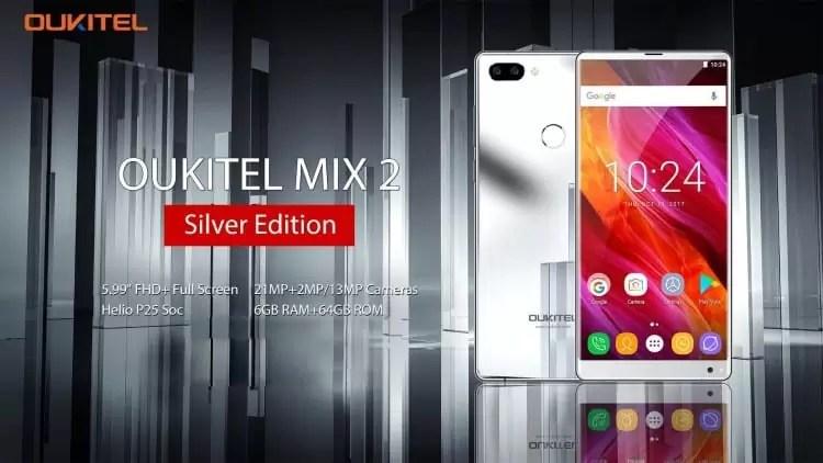 OUKITEL MIX 2 em versão Silver a tampa traseira pode ser usada como um espelho 1