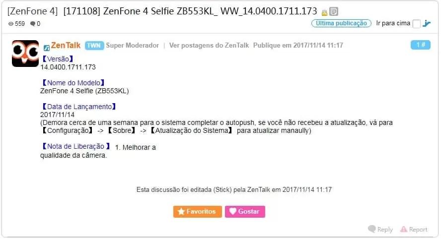 Asus ZenFone 4 Selfie com nova atualização de fimware 2