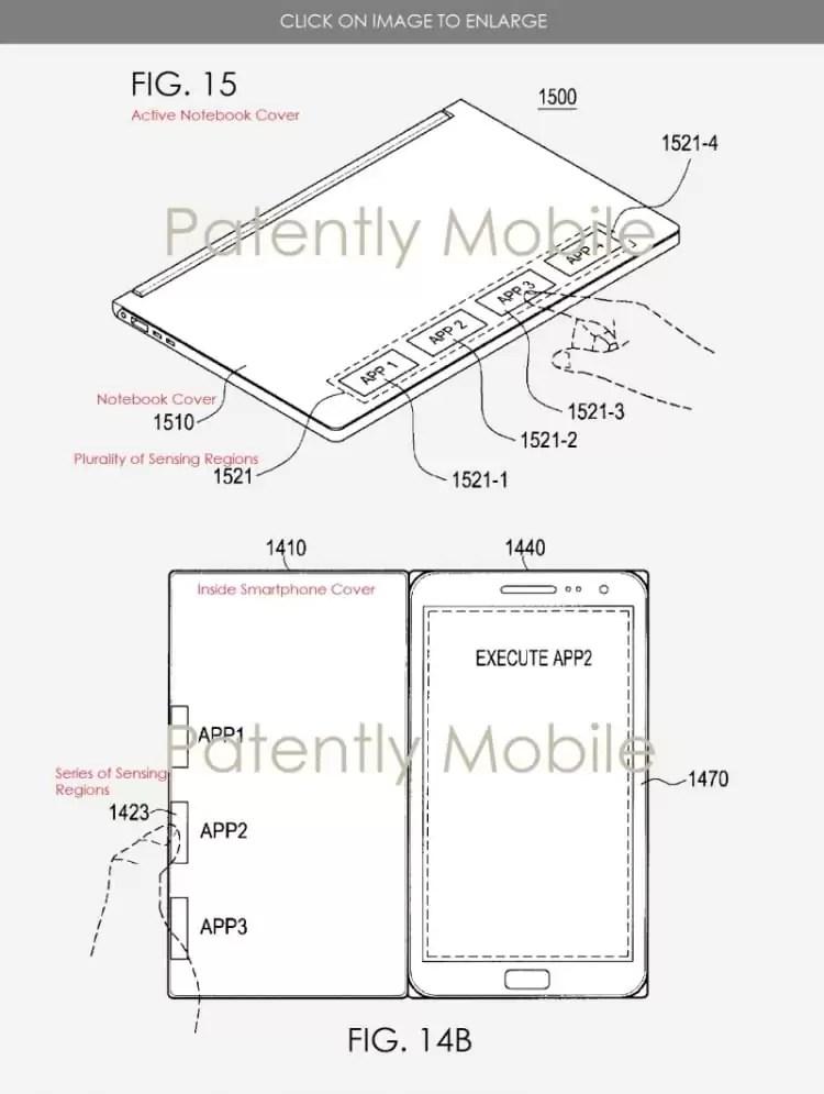 Patente da Samsung mostra possíveis capas de dispositivos com atalhos para aplicações 1