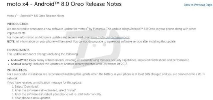 Android Oreo em vias de chegar ao Moto X4 2