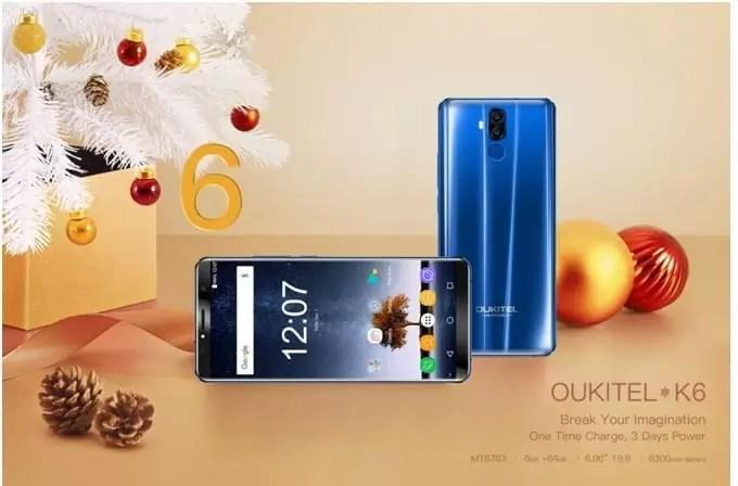 OUKITEL K6 em Flash Sale com Soc Helio P23, bateria de 6300mAh, Face ID e o sensor NFC 1