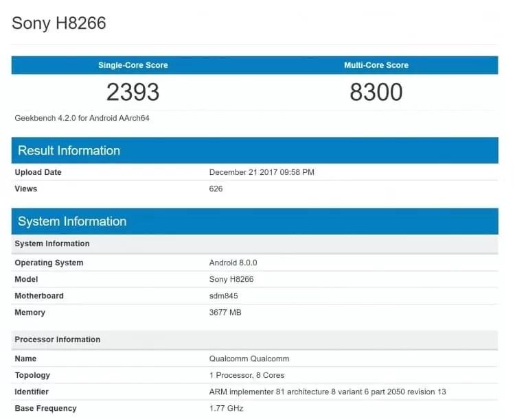 Sony Xperia H8266 apanhado em teste de benchmark com Snapdragon 845 e Android Oreo 1