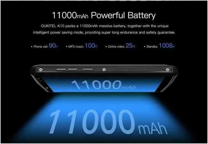 OUKITEL K10 ganha carregador novo 5V / 5A mais rápido e a bateria de 11000mAh, carrega totalmente em 170 minutos 3
