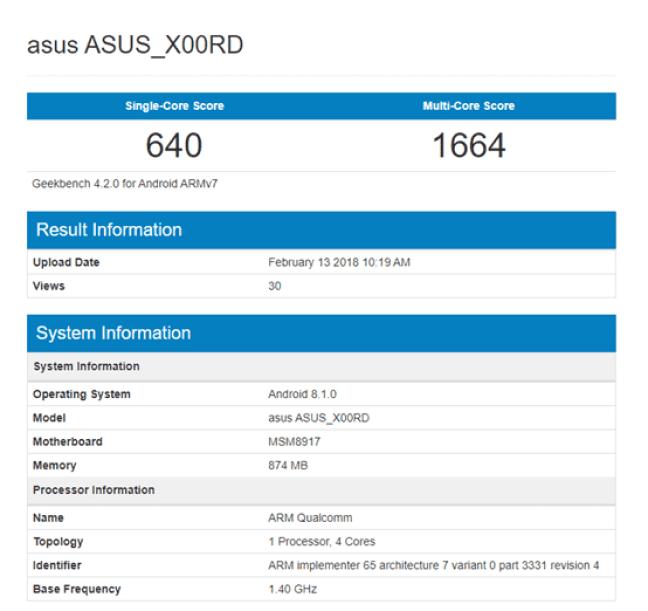 ASUS X00RD aparece no Geekbench: Um novo telefone Android Go? 1
