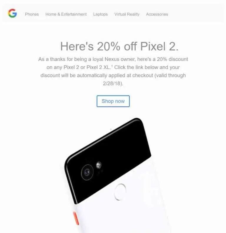 Google oferece aos proprietários fiéis aos Nexus 20% de desconto no Pixel 2 ou Pixel 2 XL 1