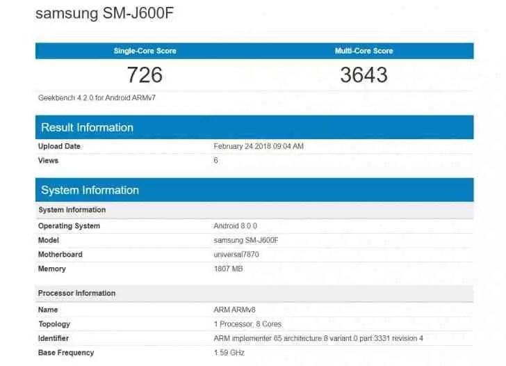 Samsung Galaxy J6 está quase pronto, o Geekbench revela pormenores 1