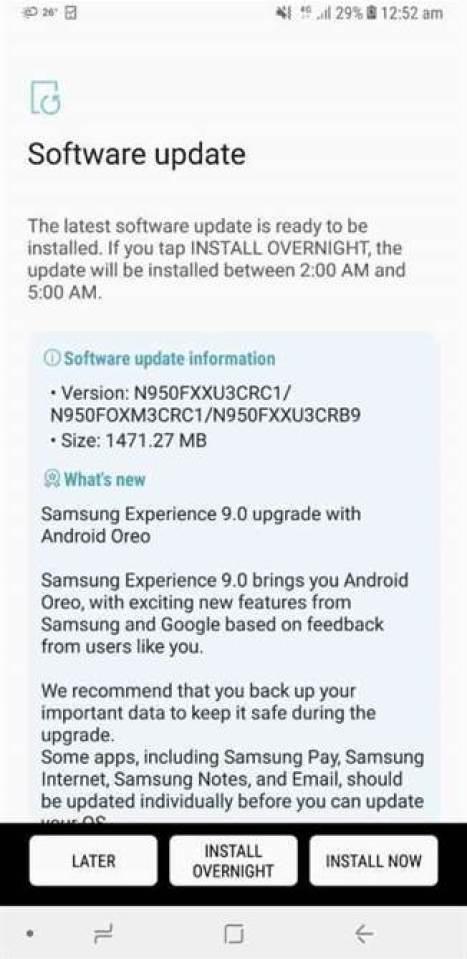 Aí está o Android Oreo para o Samsung Galaxy Note 8 1
