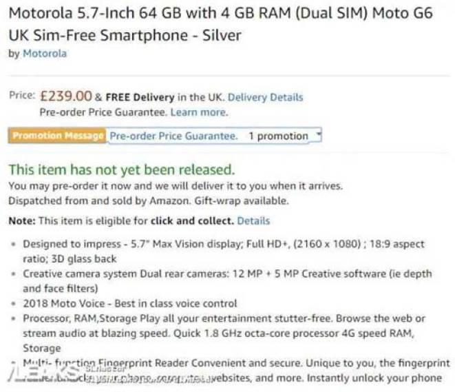 Motorola Moto G6 revelado em certificação com especificações 3