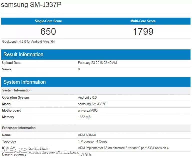 Samsung Galaxy J3 2018 e J3 Pro apanhados em teste de Benchmark 2