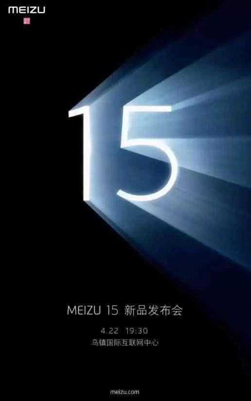 Meizu 15 apresentado oficialmente no dia 22 de Abril 1