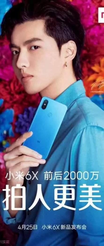 Xiaomi Mi 6X em novo poster teaser com a cor Azul 1