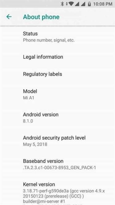 Xiaomi Mi A1 em vias de receber o update do Android 8.1 Oreo 1