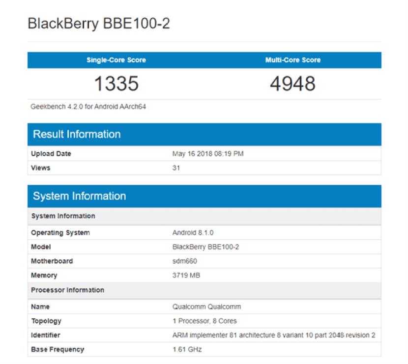 Dois smartphones Blackberry aparecem no Geekbench com Snapdragon 660 1