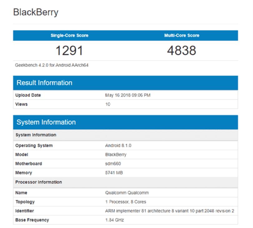 Dois smartphones Blackberry aparecem no Geekbench com Snapdragon 660 2
