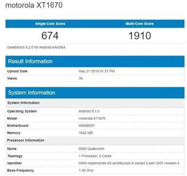 Motorola Moto G5 aparece em teste de Benchmark com Android 8.1 Oreo 1