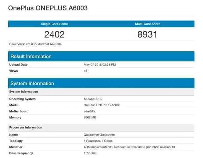 Oneplus 6 com 6Gb RAM obtém impressionante pontuação no Geekbench 1