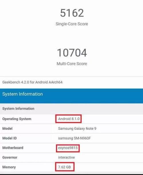 Galaxy Note 9 em teste benchmark com Exynos 9815 e 8GB de RAM? 1