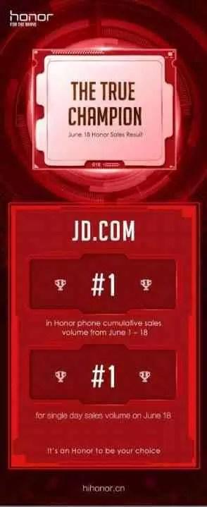 Honor com recordes no Festival de Shopping da JD.com 618 1